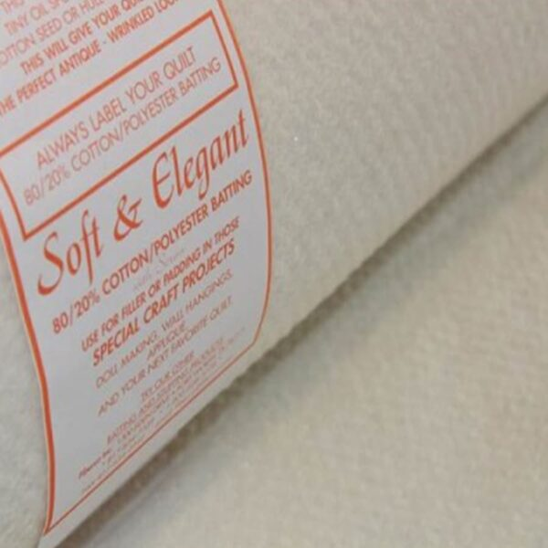 Soft & Elegant 80/20 Cotton/Polyester Wadding 90″ wide by Fiberco