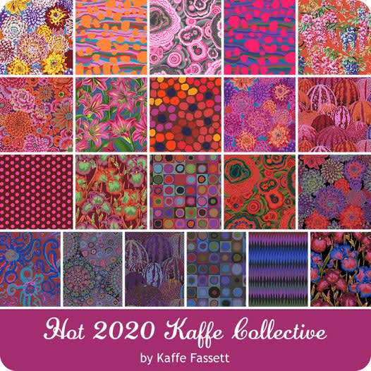 Kaffe Fassett FB4DRGPFeb21 Hot Design roll, red pink orange x 40 Strips