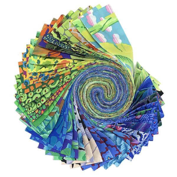 Kaffe Fassett FB4DRGPfeb21 Cool Design roll, green purple fabrics x40strips