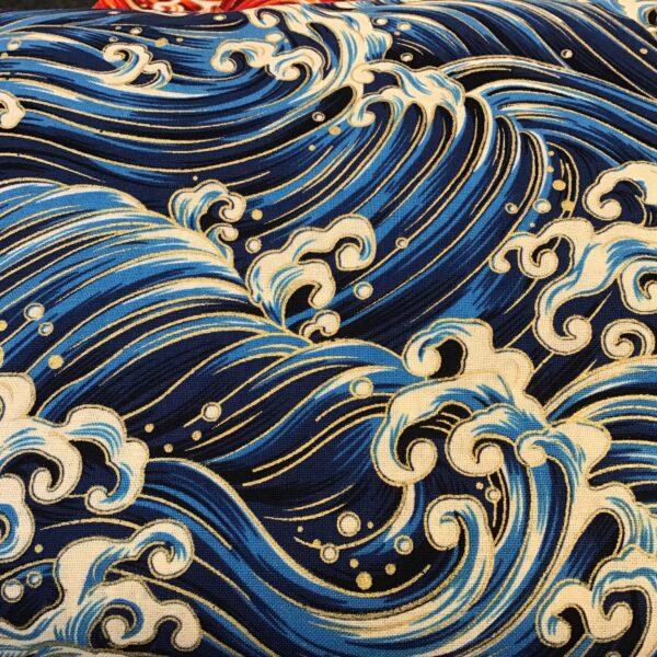 "Japanese Wave PO2702 Large Blue White Gold fabric. 54"" wide"