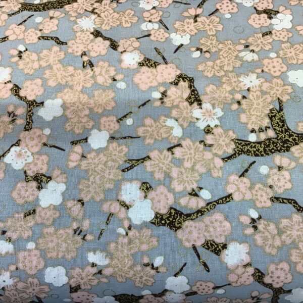"""Cherry Blossom PO2643 pink on grey fabric. 54"""" wide"""
