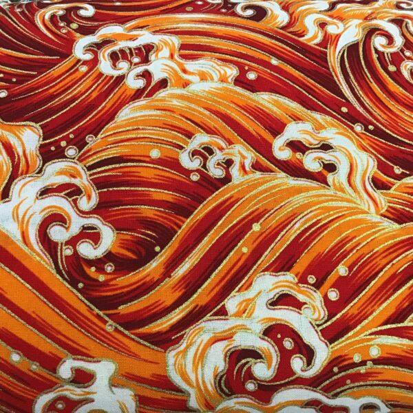 "Japanese Waves PO2701 Large Red orange gold fabric. 54"" wide"