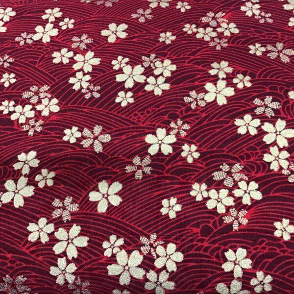 "Cherry Blossom Metallic PO3261 Red fabric. 54"" wide"