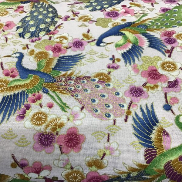 "Bird of paradise peacock PO2621 Multi on lilac fabric. 54"" wide"