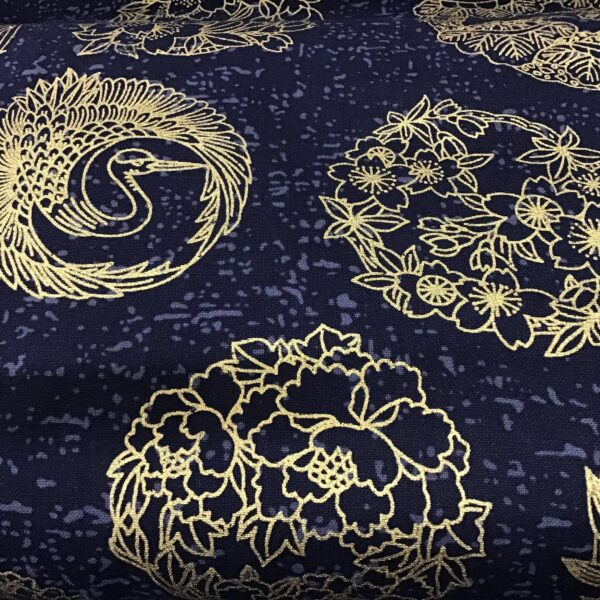 """Japanese Crests PO3412 Gold on Navy blue fabric. 54"""" wide"""