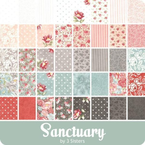 Sanctuary 44250JC Pink Grey Floral Jelly Roll by Three Sisters for Moda
