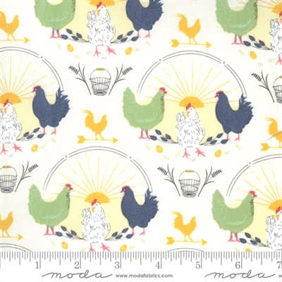 Break of Day 4310011 Chickens on Cream by Sweetfire for Moda fabric