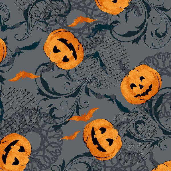 Midnight Haunt 9780C Pumpkin Slate Grey fabric by Makower