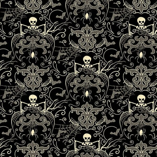 Midnight Haunt 9781KL Spooky Skeleton Damask Cream on Black fabric by Makower