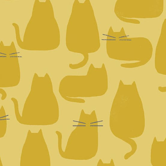 Whiskers 91868Y Golden Mustard Yellow Cats fabric by Andover