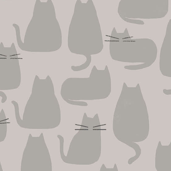 Whiskers 9168CL Concrete Grey Cats Fabric by Andover