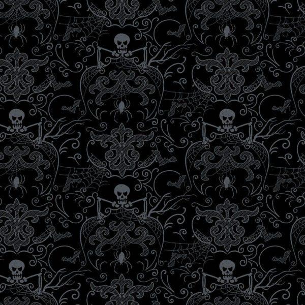 Midnight Haunt 9781K Spooky Skeleton Damask Night Black fabric by Makower