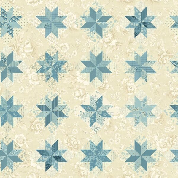 Bluebird 9848LB North Star Blue Cream Print fabric by Edyta Sitar for  Laundry Basket Quilts