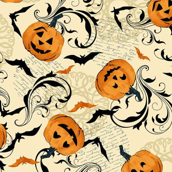 Midnight Haunt 9780L Pumpkin Parchment Cream fabric by Makower