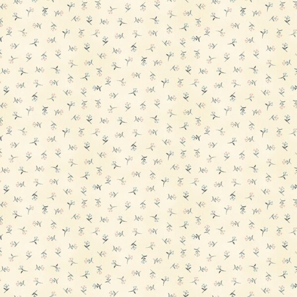 Tranquility 2414S Sprig pink grey on cream fabric by Makower