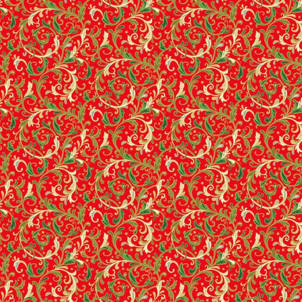 Classic 2373 Foliage green on red by Makower