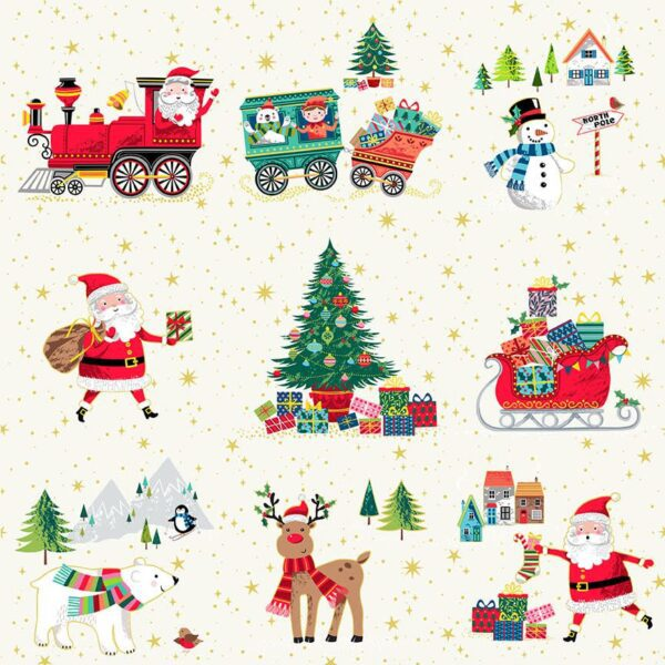 Santa Express 23781 Christmas Icons Allover Multi by Makower