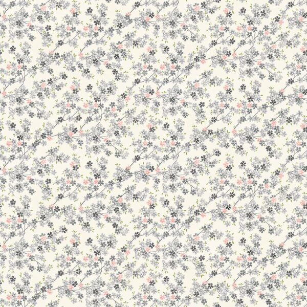 Tranquility 2410S1 Cherry Branch Pink grey on cream fabric by Makower