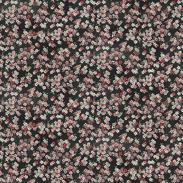 Tranquility 2410P7 Cherry Branch Pink on Black fabric by Makower