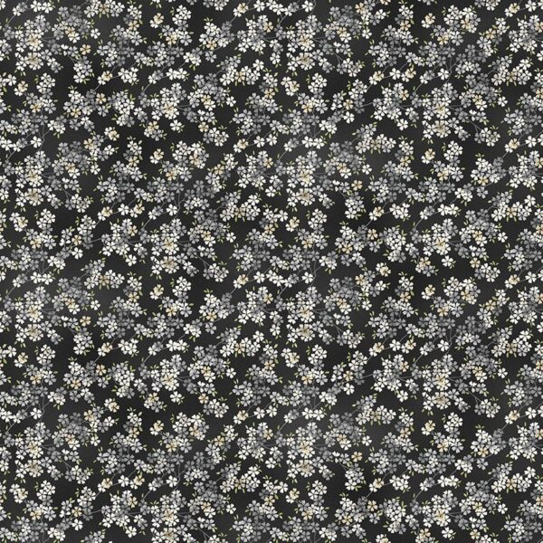 Tranquility 2410S8 Cherry Branch Black floral fabric by Makower
