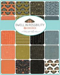 Dwell in Possibility Layer Cake 10″ Squares Multi Metallic by Gingiber for Moda fabrics