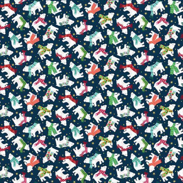 Santa Express 2239B Polar Bears on Navy Blue by Makower fabric