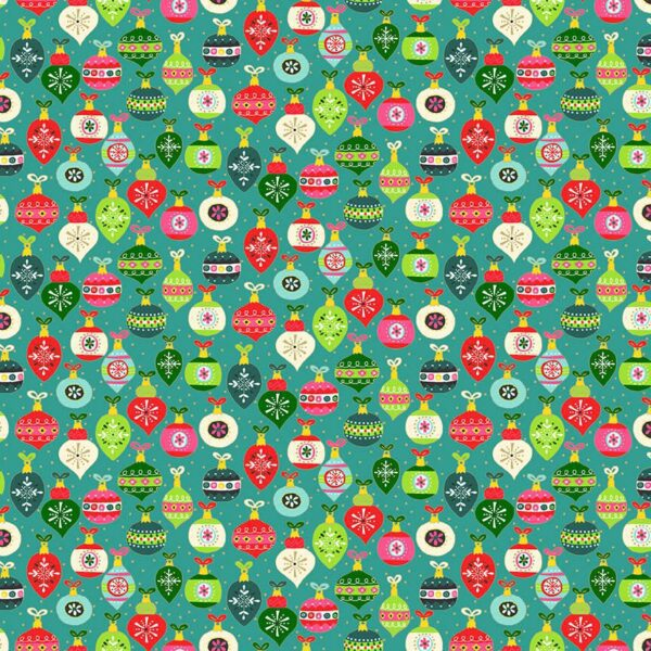 Santa Express 2381T Baubles on Teal Green by Makower fabric
