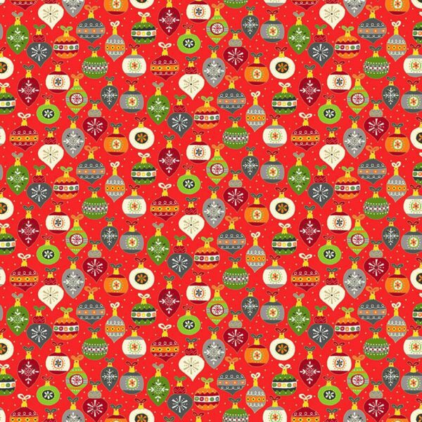 Santa Express 2381R Baubles on Red by Makower fabric