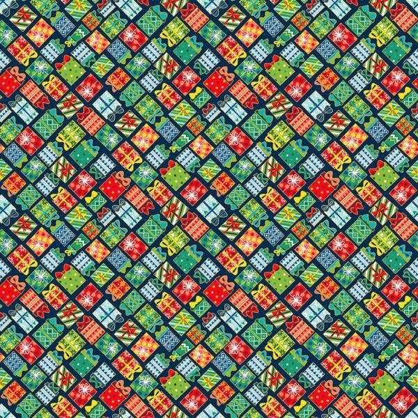 Santa Express 2382B Presents on Blue by Makower fabric