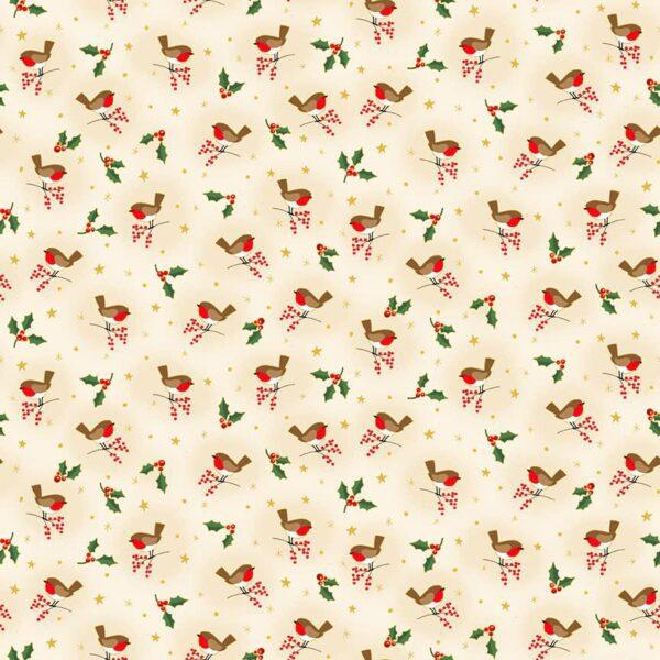 Classic 2376Q Robins on Cream by Makower fabric