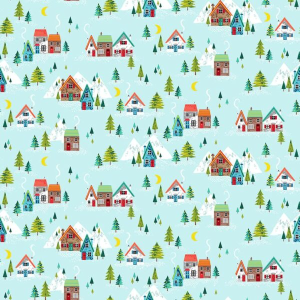 Santa Express 2379T Scenic Trees & Chalets on aqua blue by Makower fabric
