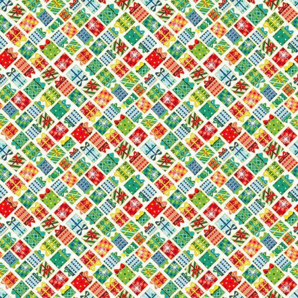 Santa Express 2382Q Presents on Cream by Makower fabric