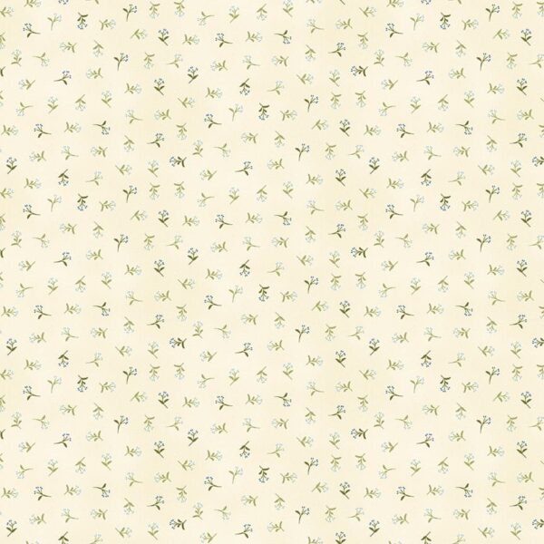 Tranquility 2414B Sprig Green on cream fabric by Makower